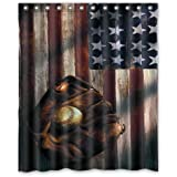 Waterproof Bathroom American Flag Baseball Shower Curtain 60 X