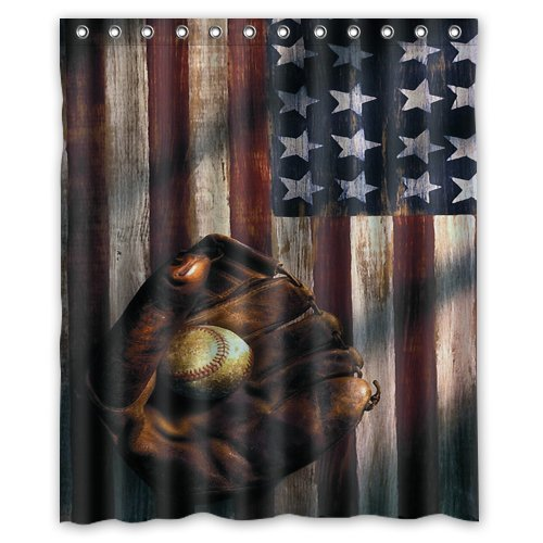 Amazon Waterproof Bathroom American Flag Baseball Shower Curtain 60 X 72 Home Kitchen