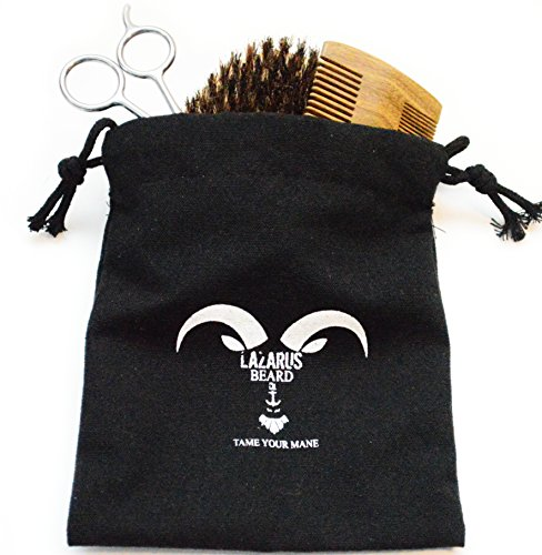 Beard Grooming Kit for Men – Lazarus Beard Co. – Beard Brush, Beard Comb, Mustache & Beard Trimming Scissors for Styling and Shaping Facial Hair – Beard Care Gift Set – Beard and Mustache Styling.