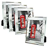 mirrored picture frames Amazing Roo 5x7 Mirror Picture Frame for Table Top Display 5 x 7 inch Glass Photo Frames, Set of 4