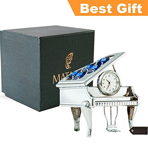 Chrome Plated Desk Clock - Matashi Best Parent's Day Gift Creative Vintage Piano Clock for Living Room Bedroom Home Decor Shelf Desktop Tabletop with a Luxury Gift Box, Silver with Blue Crystals