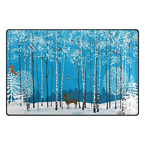 - Fantasy Star Play Mat for Kids - Cardinal Bird Deer Winter Tree Doormat for Bedroom Kitchen Bathroom Decorative Lightweight Foam Rug - Baby Mats for Playing/Crawling - 3' x 5'