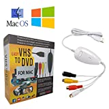 USB Video Grabber Capture Adapter - USB2.0 Capture Videos from TV DVD VCD CCTV VHS V8 Vi8 Camcorders Game Box PS 2/3 Xbox 360 Wii,VHS/VCR to Digital DVD Converter for Windows and Mac O/S