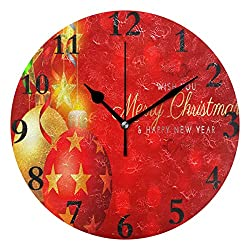 Ladninag Wall Clock Merry Christmas Greetings Wallpaper Silent Non Ticking Decorative Round Digital Clocks Indoor Outdoor Kitchen Bedroom Living Room