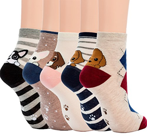 Losa Kute 5 Pairs Women Crew Socks Casual Cute Cotton Cat Dog Socks Long Ankle Socks Lovely Colorful Funny Novelty Girls Warm Stockings Socks with Design for Sneakers Boots Ladies WCS1-Dogs ()