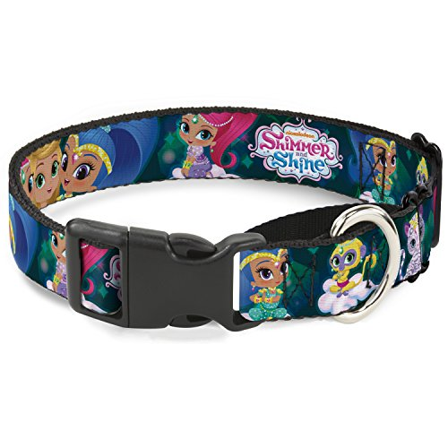 Shimmer and Shine Dog Collar Martingale 5 Character Poses Diamonds Blues Greens 11 to 17 Inches 1.0 Inch Wide
