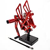 FXCNC Motorcycle Rearsets Rear Foot Pegs CNC Rear set Footrests Fully Adjustable Rear Foot Boards Fit for SUZUKI GSXR1000 K7 K8 2007 2008 Red