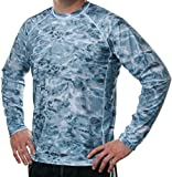 Aqua Design Men Loose Fit Long Sleeve Surf Swim Sun Protection Rash Guard Shirt, Aqua Sky, M