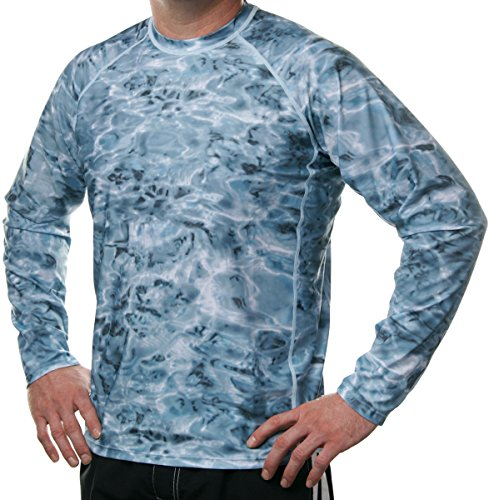 Aqua Design Men Loose Fit Long Sleeve Surf Swim Sun Protection Rash Guard Shirt, Aqua Sky, M by Aqua Design