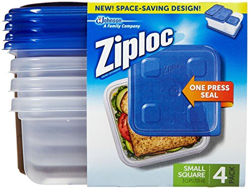 Ziploc Container, Small Square - 40 oz - 4 ct