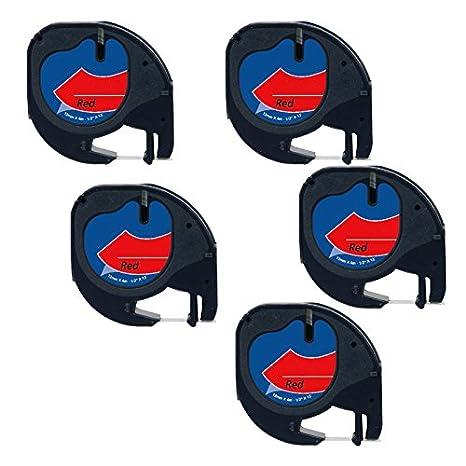 5 Casetes de Cinta compatibles con Dymo LetraTag 91203 S0721680 S0721630 Negro sobre Rojo 12mm x 4m para DYMO LetraTag LT110T, LT100H, LT100T, QX50, ...