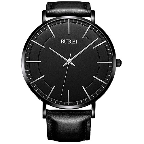 BUREI Unisex Ultra Thin Big Black Face Quartz Watch with Stainless Steel Case and Leather Strap (Black Womens Face)