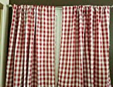 lovemyfabric Gingham/Checkered 100% Polyester Curtain Window Treatment/Decor Panel-Red and White (2, 56″X120″) Review