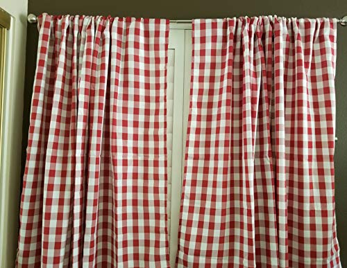 (lovemyfabric Gingham/Checkered 100% Polyester Curtain Window Treatment/Decor Panel-Red and White (2, 56