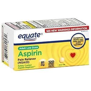Equate - Aspirin 81 mg, Adult Low Strength Aspirin Regimen, 120 Tablets