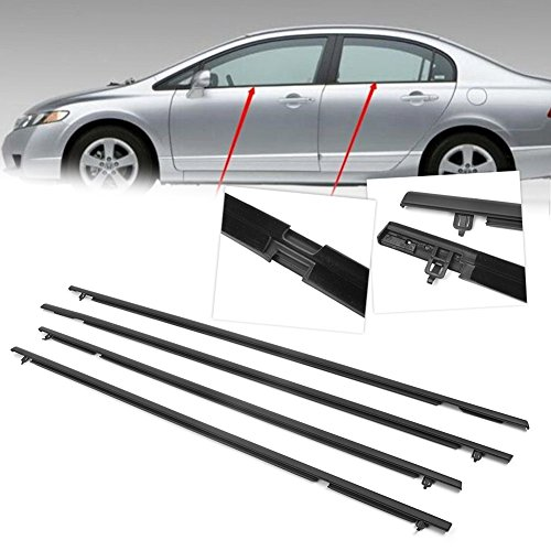 GZYF Window Weather Stripping, Automotive Window Seal Moulding Weatherstrip Compatible with Honda Civic 2006-2011 (Honda Moulding Civic Door)
