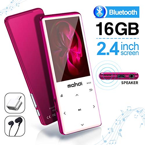 (MYMAHDI MP3 Player with Bluetooth 4.2, Touch Buttons with 2.4 inch Screen, 16GB Portable Lossless Digital Audio Player with FM Radio, Voice Recorder, Support up to 128GB, Pink)