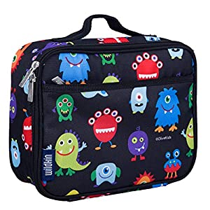 Wildkin 33600 Lunch Box, Insulated, Moisture Resistant, and Easy to Clean with Helpful Extras for Quick and Simple Organization, Olive Kids Design, Monsters