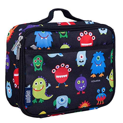 Monsters Lunch Box - Wildkin Lunch Box, Insulated, Moisture Resistant, and Easy to Clean with Helpful Extras for Quick and Simple Organization, Ages 3+, Perfect for Kids or On-The-Go Parents, Olive Kids Design – Monsters