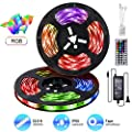 Upgraded 2019 Light Strip Kit, 32.8ft/10M 300LEDs SMD 5050 12V RGB Led Strip Lights IP65 Waterproof with Sensitive Reaction 44Key Remote Controller and 5A Adapter for Lighting,Room