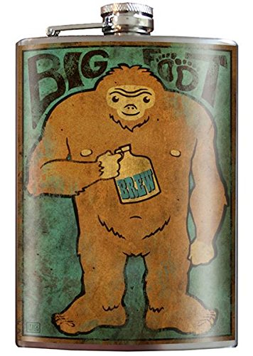 - Big Foot Drunk Creature Camping Flask - 8oz Stainless Steel Flask - comes in a GIFT BOX - by Trixie & Milo
