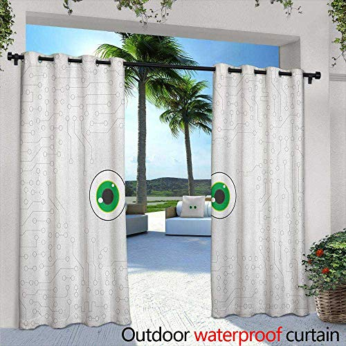 LOVEEO Trippy Thermal Insulated Blackout Curtains High Tech Hardware Circuit Board Backdrop with Eye Forms Digital Picture Waterproof Patio Door Panel 84