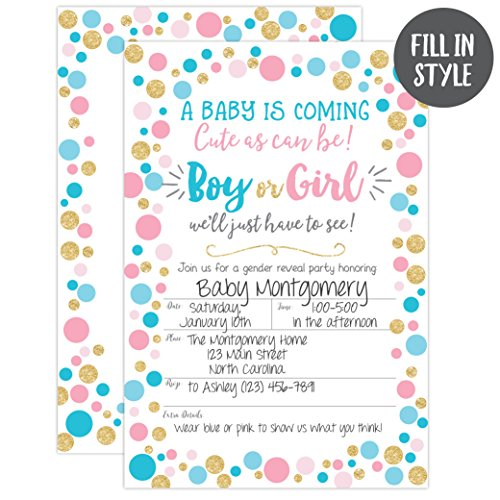 Gender Reveal Invitation, Gender Reveal Party Invite, Neutral Baby Shower Invitation, Boy Or Girl, He Or She, 20 Fill in Invitations and Envelopes by Your Main Event Prints (Image #1)