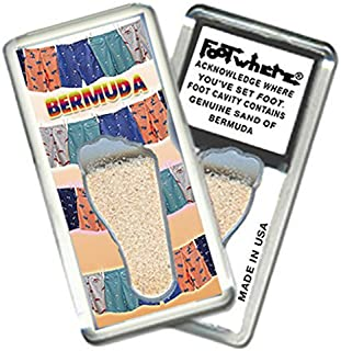 product image for Bermuda FootWhere Fridge Magnet (BRM203 - Shorts). Authentic destination souvenir acknowledging where you've set foot. Genuine soil of featured location encased inside foot cavity. Made in USA