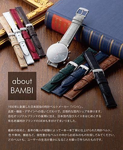 BAMBI バンビ 時計バンド 牛革 ワイン 10mm 美錠 ゴールド C115EF