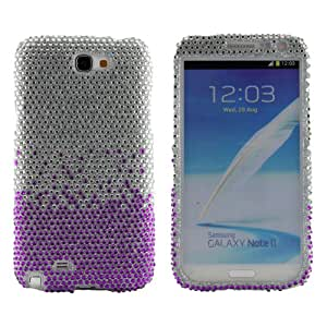 Boho Tronics TM Silver and Purple Waterfall Bling Premium Hard Case Cover - Compatible With Samsung Note 2 N7100