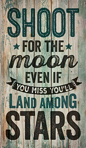 Shoot for the Moon Land Among the Stars Distressed Design Wood Pallet Wall Sign