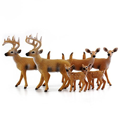 """White-Tailed Deer Family Figurines (6-Figure Set); 2 Bucks, 2 Does, 2 Fawns 2 to 4"""" Tall"""