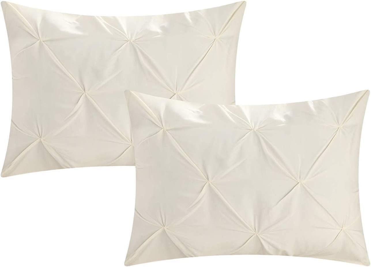 beddingstar Standard Pillow Shams Set of 2 Pinch Pleated Ivory Pillow Shams Standard 20X26 Pillow Cover/Cases 600 TC 100% Egyptian Cotton Ivory Standard Sham Gorgeous Decorative Pinch Pillow Shams Set