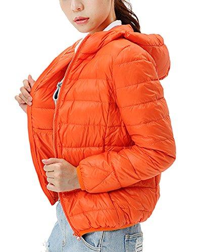 Naranja para Chaqueta Mujer de con Plumas Chaquetas ZhuiKun Ligero Capucha q0zxT1qvw