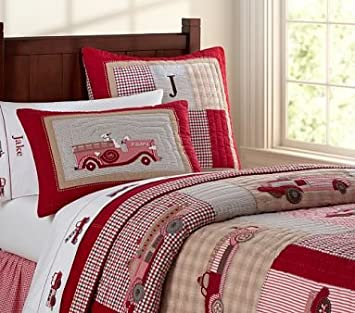 Pottery Barn Kids Jakes Firetruck Quilted Bedding