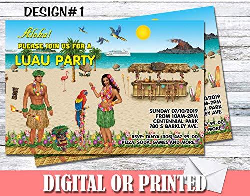 Luau Tiki Hut Party Personalized Birthday Invitations More Designs Inside!