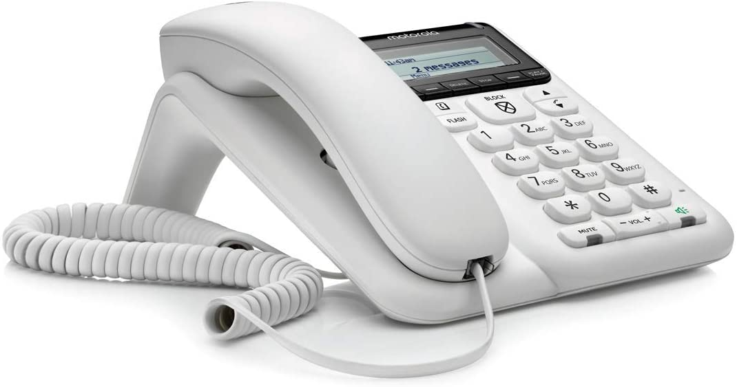 Motorola CT610 Corded Telephone with Answering Machine and Advanced Call Blocking, White,