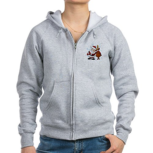 Truly Teague Women's Zip Hoodie Santa Claus & Rudolf: Best Friends Forever - Light Steel, (Forever Womens Zip Hoodie)