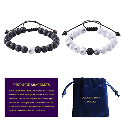 YOGA GEMSTONE JEWELRY Adjustable Couples Distance Bracelets Friendship Relationship Couples His Hers Black Agate Onyx White Howlite Natural Gemstone Stretch Lava Rock Chakras Bracelet