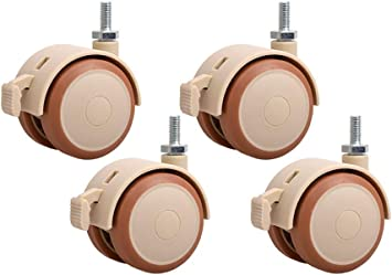 Office Chair Wheels Replacement,Wheels Casters,2 Inch Shopping Cart Baby Carriage Wheel Trolley Swivel Caster Wheels Soft Rubber Stem Caster Wheel,Set Of 4