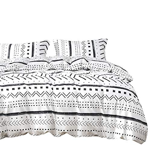 (Wake In Cloud - Aztec Duvet Cover Set, 100% Cotton Bedding, Black White Geometric Modern Pattern Printed Zipper Closure (3pcs, Twin Size))