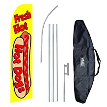 """Hot Dogs"" 12-foot Swooper Feather Flag and Case Complete Set...includes 12-foot Flag, 15-foot Pole, Ground Spike, and Carrying/Storage Case"