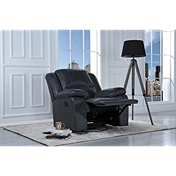 Oversize Ultra Comfortable Air Leather Fabric Rocker and Swivel Recliner Living Room Chair (Grey)  sc 1 st  Amazon.com : cloth recliner - islam-shia.org