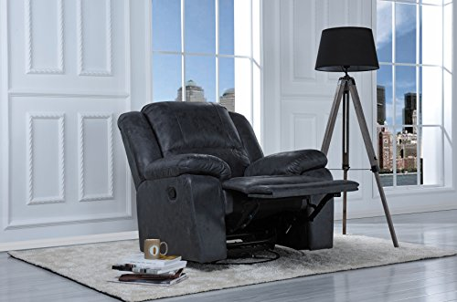 DIVANO ROMA FURNITURE Oversize Ultra Comfortable Air Leather Fabric Rocker and Swivel Recliner Living Room Chair (Grey)
