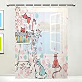 1 Piece Tulle Voile Window Room Decoration Sheer Curtain,Cute Pink Cat,Single panel Gauze Curtain Drape Panel Valance 55 x 78 inch