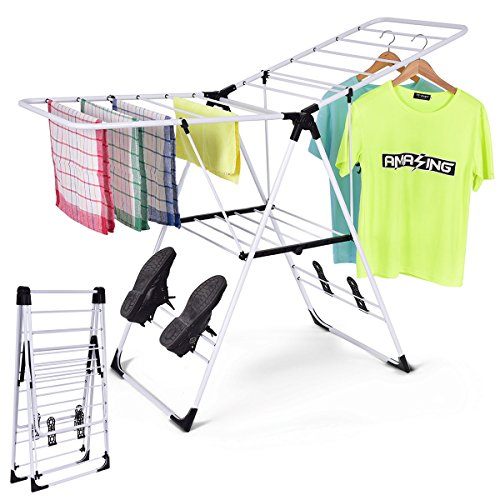 TANGKULA Clothes Drying Rack Collapsible Laundry for Sweaters Socks Underwear with Shoe Holder & 2 Shelves Study Steel Frame Space Saving Adjustable Hanging Foldable Drying Rack (White)