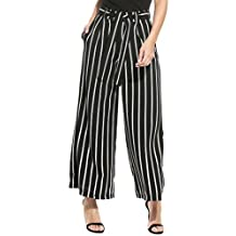 Women's Stripe Flowy Wide Leg High Waist Belted Palazzo Pants Capris SE MIU