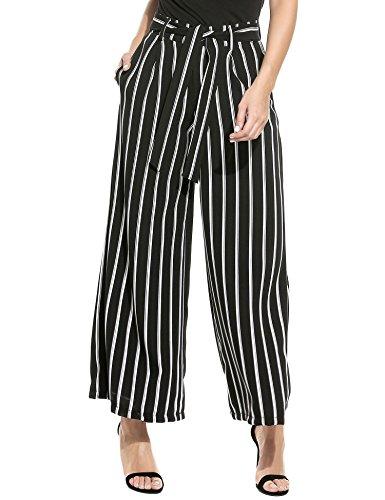 UNibelle Women's White Black Stripe Flowy Wide Leg Belted Palazzo Pants Capris