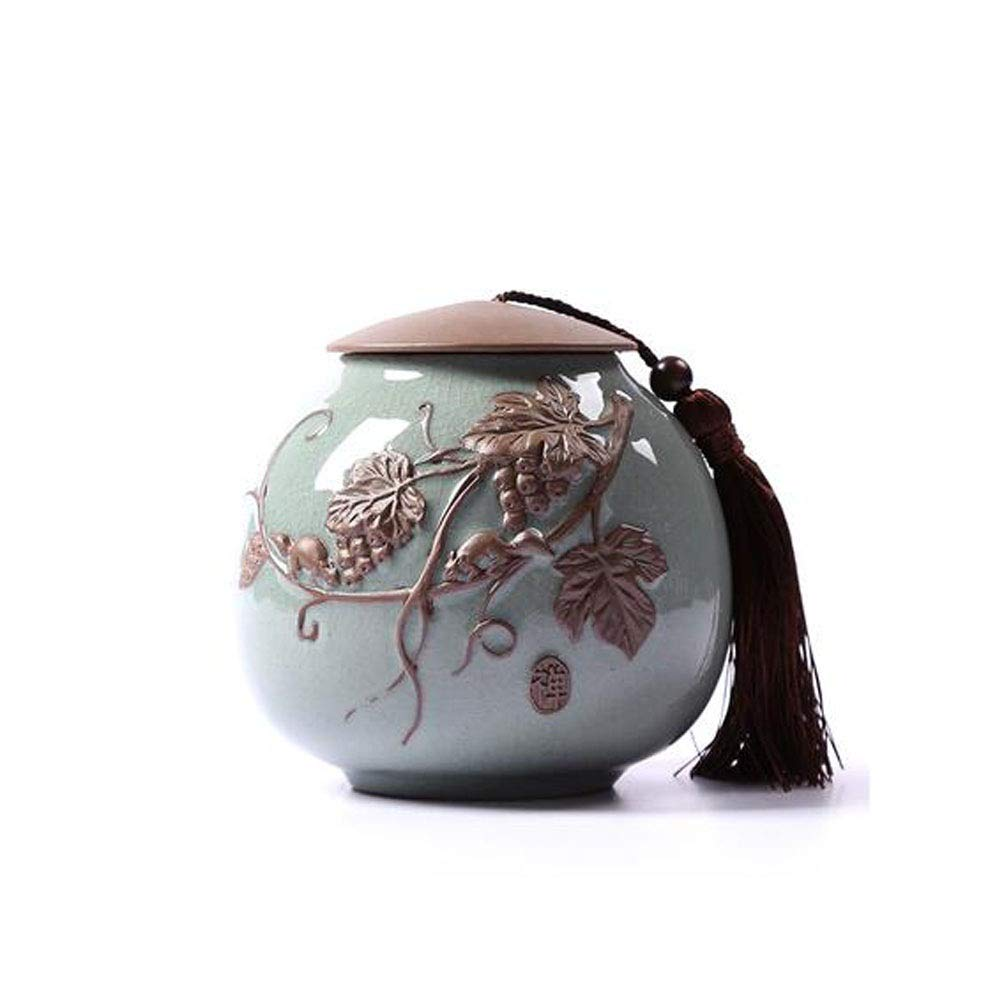 bluee Hongyushanghang Pet Casket, Close Relatives and Dear Pet Crematorium, Elite Souvenir 5.2 Inches in Diameter (Ceramic Kiln Light bluee Fruit) Bright (color   bluee)
