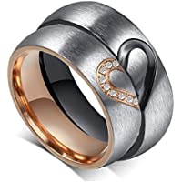 """Aegean Jewelry Titanium Couple Fashion Wedding Band Ring """"We Are a Perfect Match"""" Love Style with a Gift Box and a FREE Small Gift"""